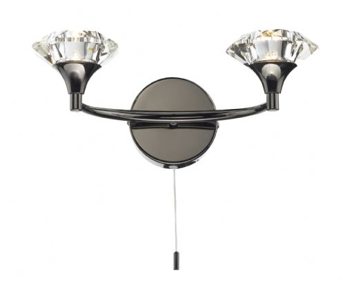 Luther Double Wall Bracket complete with Crystal Glass Black Chrome (Double Insulated) BXLUT0967-17